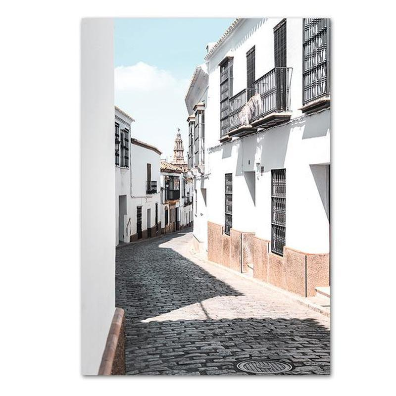 Street With Palm Trees And White Buildings Canvas Prints-Heart N' Soul Home-70x100 cm no frame-Buildings-Heart N' Soul Home