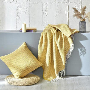 Tessa Knitted Throw Mustard Large ( 130 x 220cm )-Heart N' Soul Home-Eric-Golden-130*(200+10*2 tassels)cm-Heart N' Soul Home
