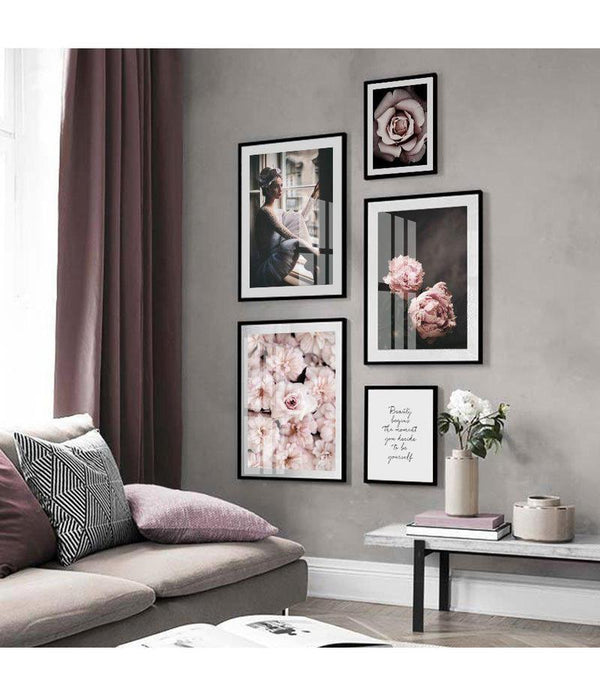 The Girl Sitting By The Window And Peony Flowers Canvas Prints-Heart N' Soul Home-Heart N' Soul Home
