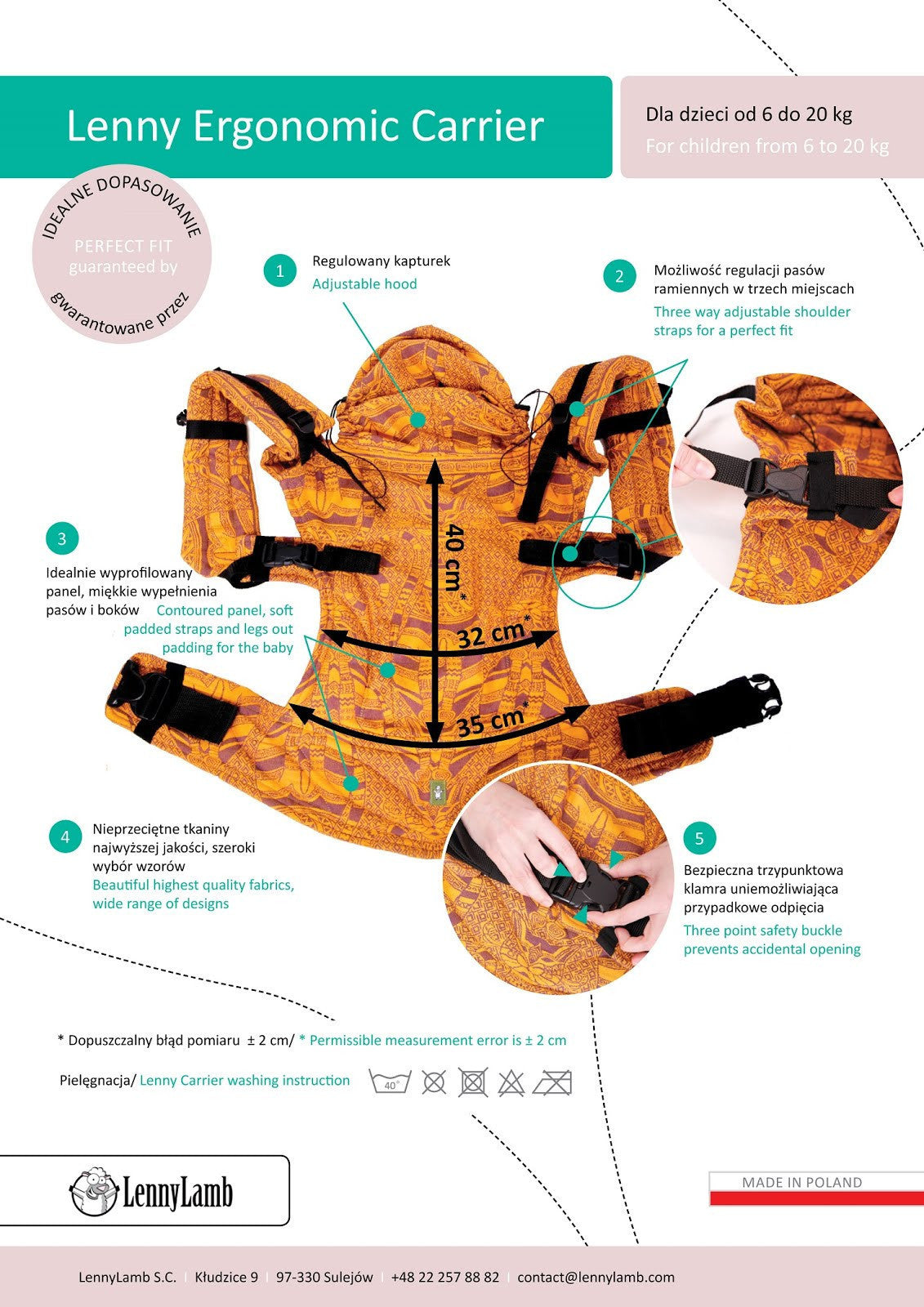 Lennylamb Ergonomic Baby Carrier Diagram