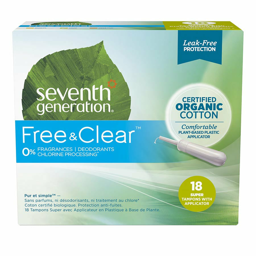 Seventh Generation Organic Cotton Super Applicator Tampons (18 ct)