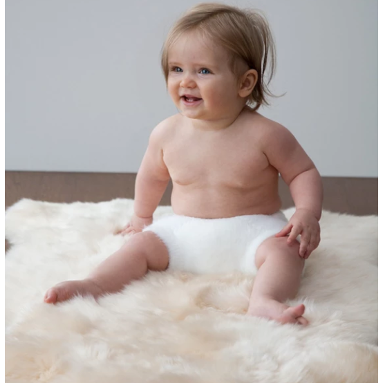 Elks & Angels Unshorn Natural Lambskin Baby Rug