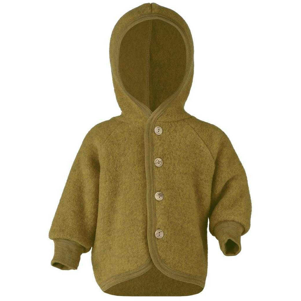 Engel Hooded Baby Jacket with Wooden Buttons