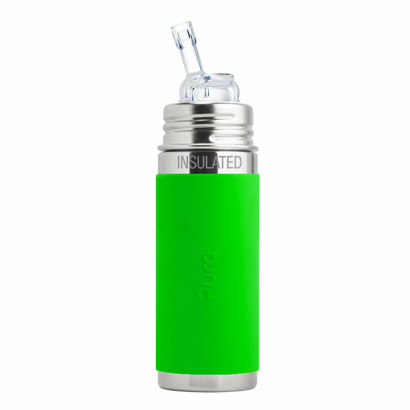 Pura Kiki Stainless 9oz Insulated Straw Bottle with Sleeve