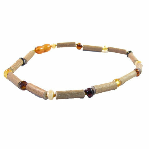The Amber Monkey Hazelwood Teething Necklace - Hazelwood and Multi