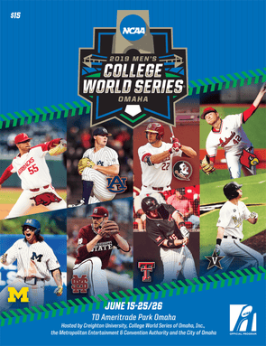 The front cover of the 2019 Men's College World Series program: blue background with green baseball seam design above and below the 8 coverboys: Isaiah Campbell for Arkansas, Tanner Burns for Auburn, Drew Mendoza for Florida State, Reid Detmers for Louisville, Jordan Brewer for Michigan, Ethan Small for Mississippi State, Josh Jung for Texas Tech, and Andrew Daschbach for Vanderbilt.