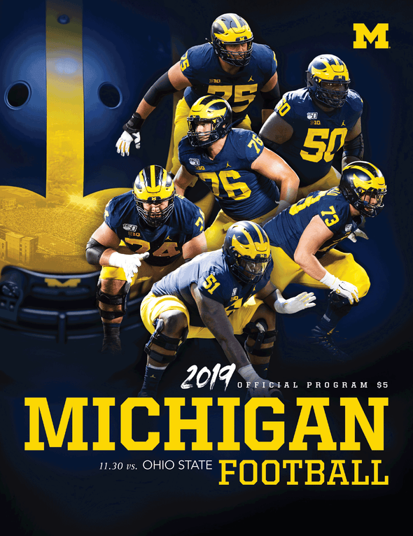 The cover of the 2019 official program of Michigan Football vs. Ohio State on Nov. 20, 2019. Cover features six players and a large helmet in the background.