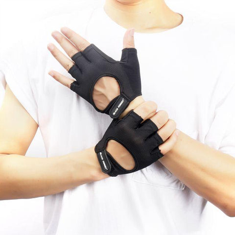 black Hollow Finger-less gym Gloves