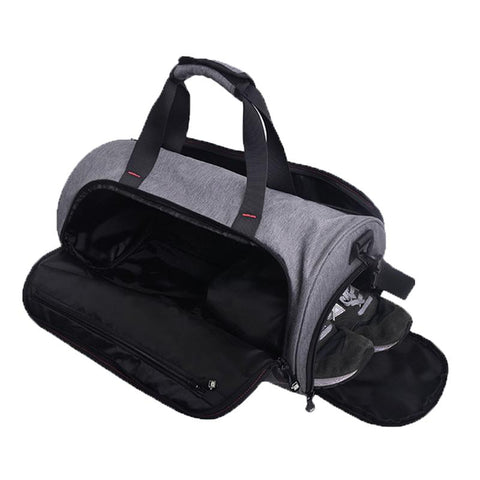 Duffle gym bag with shoe compartment