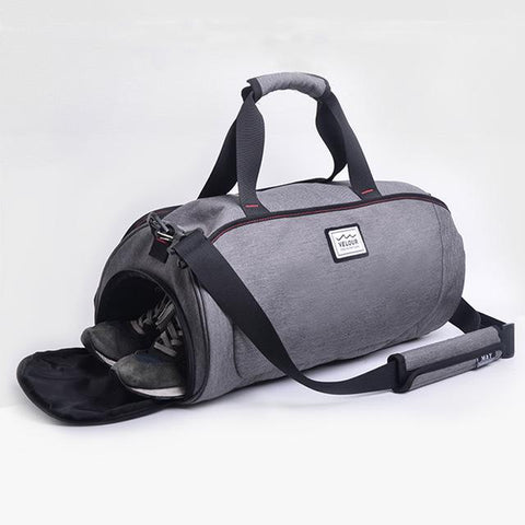 Grey gym bag with shoe compartment