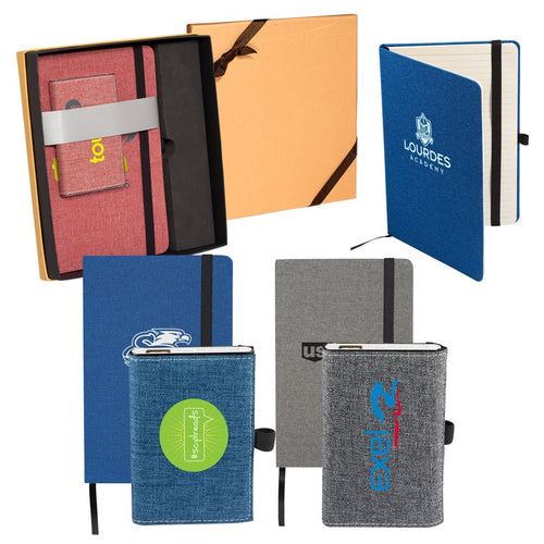 SNOW CANVAS NOTEBOOK/EXECUTIVE CHARGER GIFT SET
