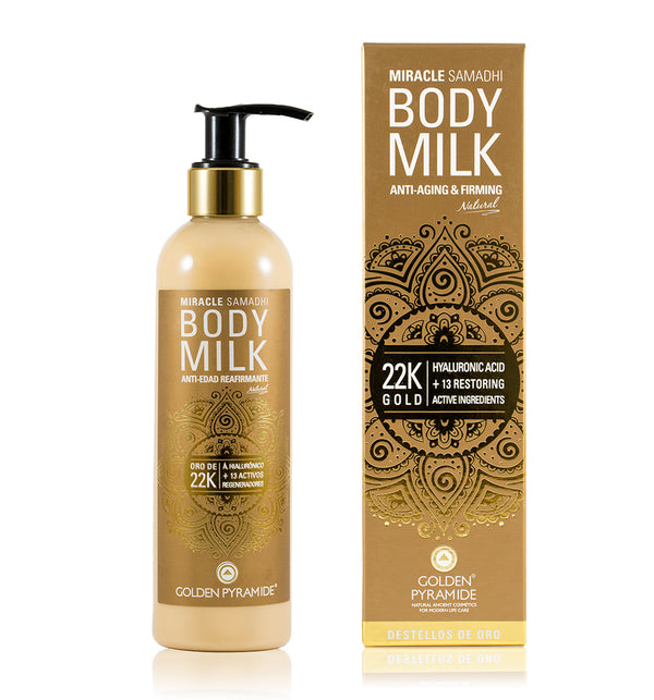 """DESTELLOS DORADOS ORO 22k"" BODY MILK Antiedad reafirmante"