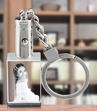 Load image into Gallery viewer, 2D Crystal Rectangle Keychain - White LED Light