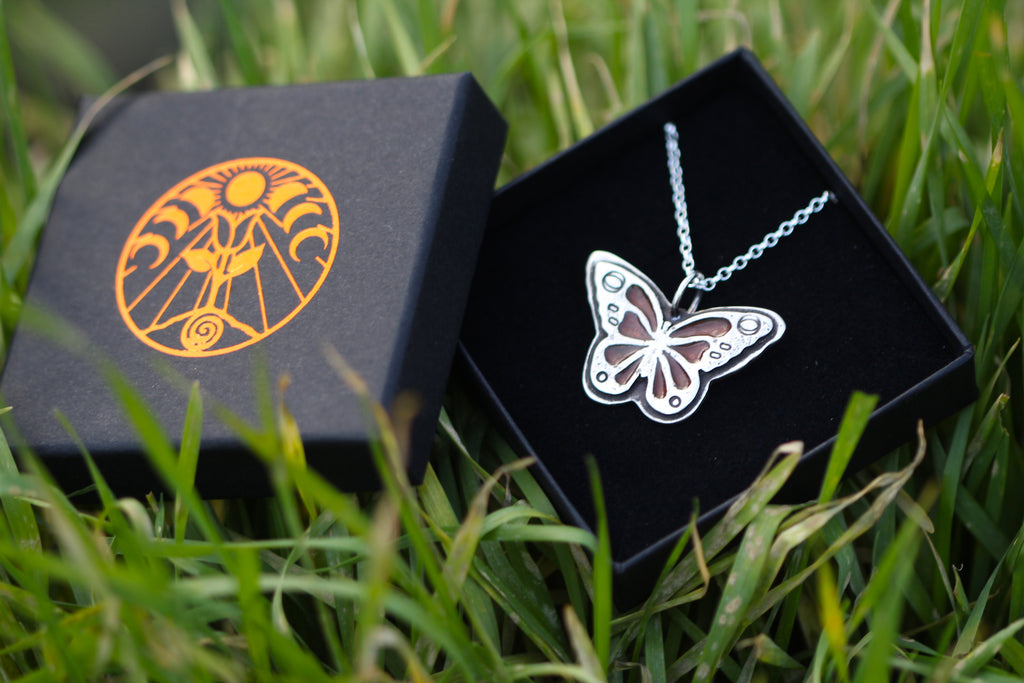 BUTTERFLY - Handmade Recycled Sterling Silver Necklace with Victorian Red Brick Inlay