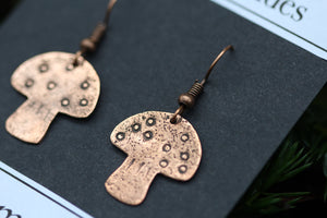 MAGIC MUSHROOMS Handmade Copper Earrings