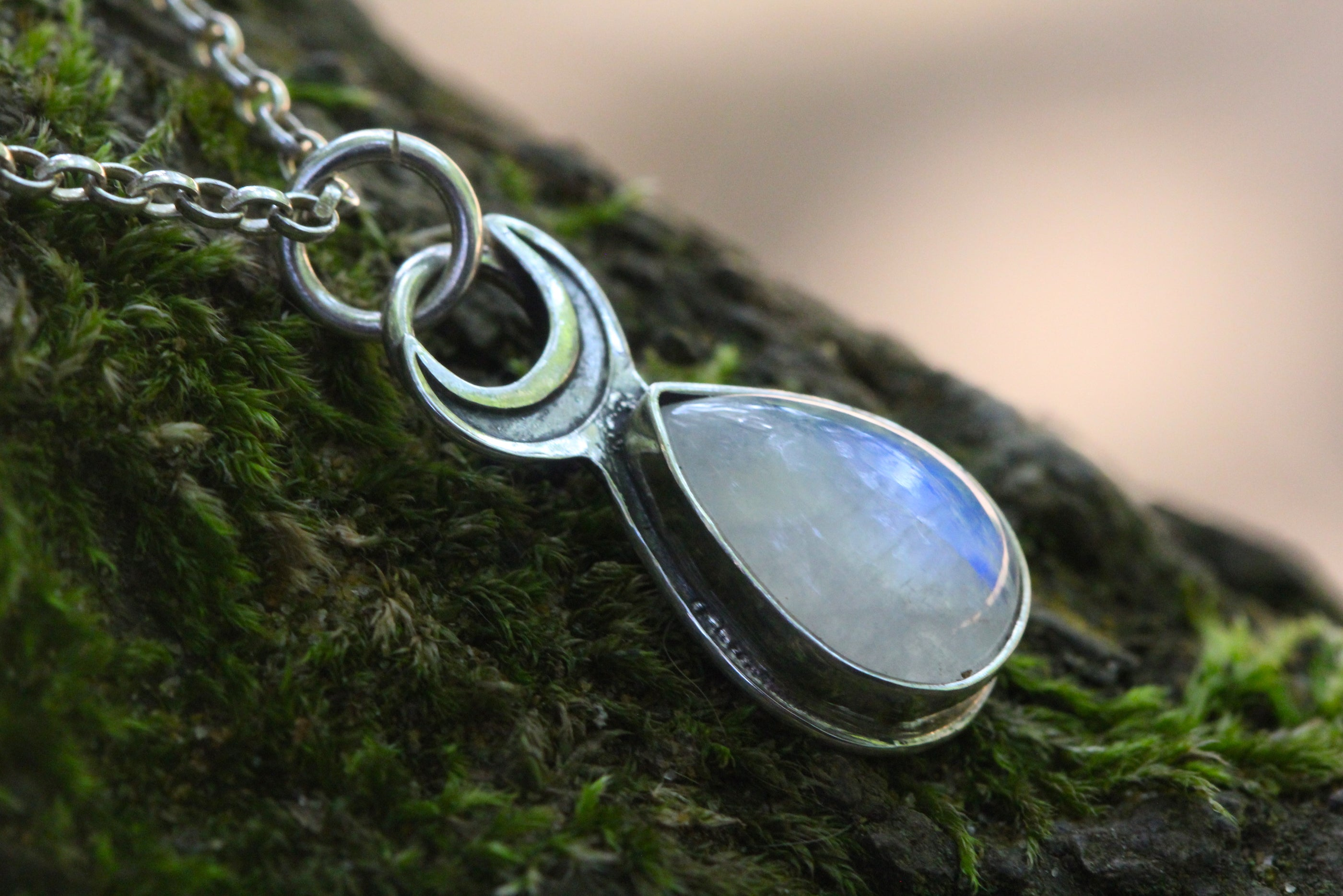 *Private Listing* Custom MOONDROP Necklace with Rainbow Moonstone