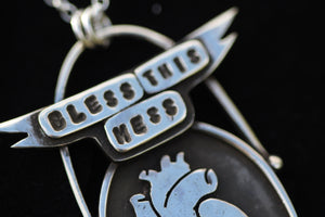 BLESS THIS MESS Handmade Sterling Silver Anatomical Heart Necklace