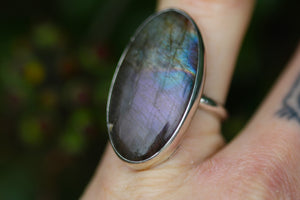 COSMIC DREAMS Labradorite & Sterling Silver Ring SIZE P / 7.5