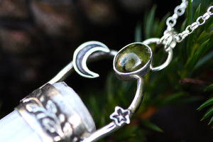 LIGHTKEEPER Selenite & Peridot Sterling Silver Necklace