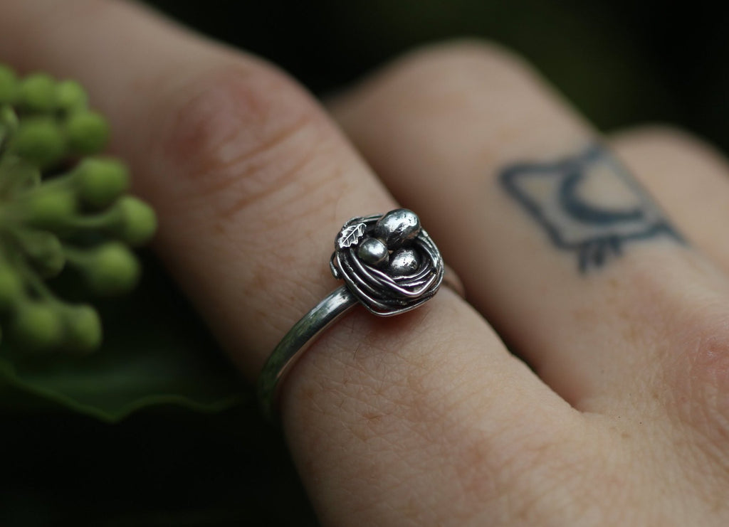 SAFE INSIDE Sterling Silver Bird's Nest Ring