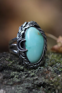 HARVEST MOON Natural Blue Gem Turquoise Ring, Size O/7
