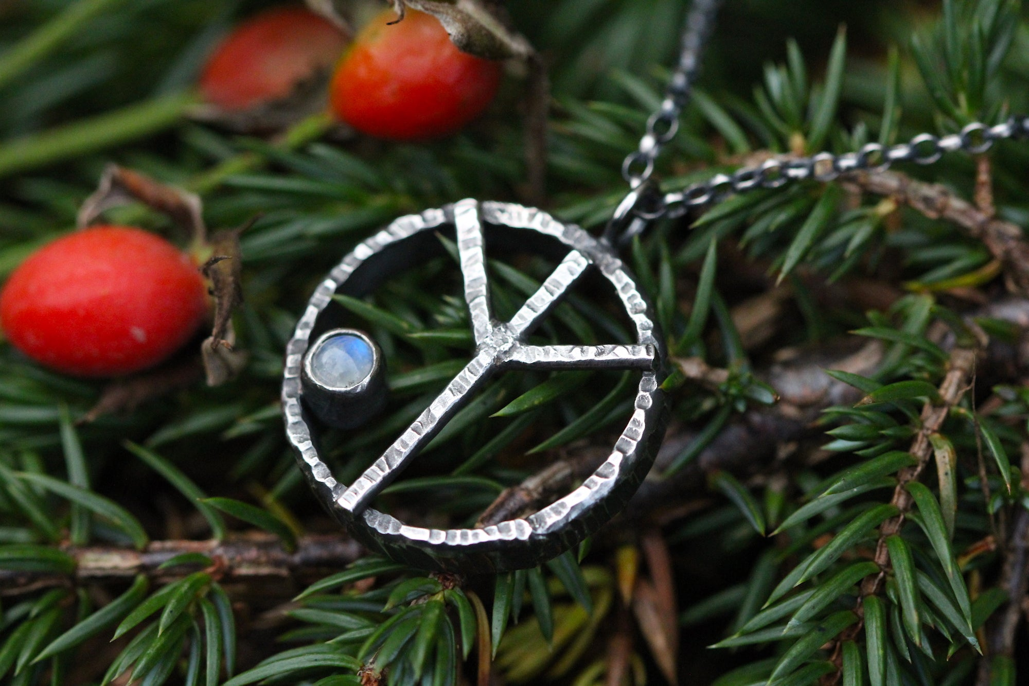 ALGIZ Sterling Silver Rune Necklace with Rainbow Moonstone