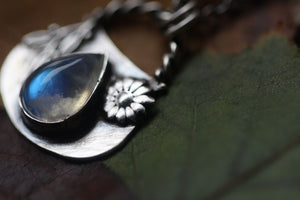 HEDGEWITCH Sterling Silver Cauldron Necklace with Rainbow Moonstone