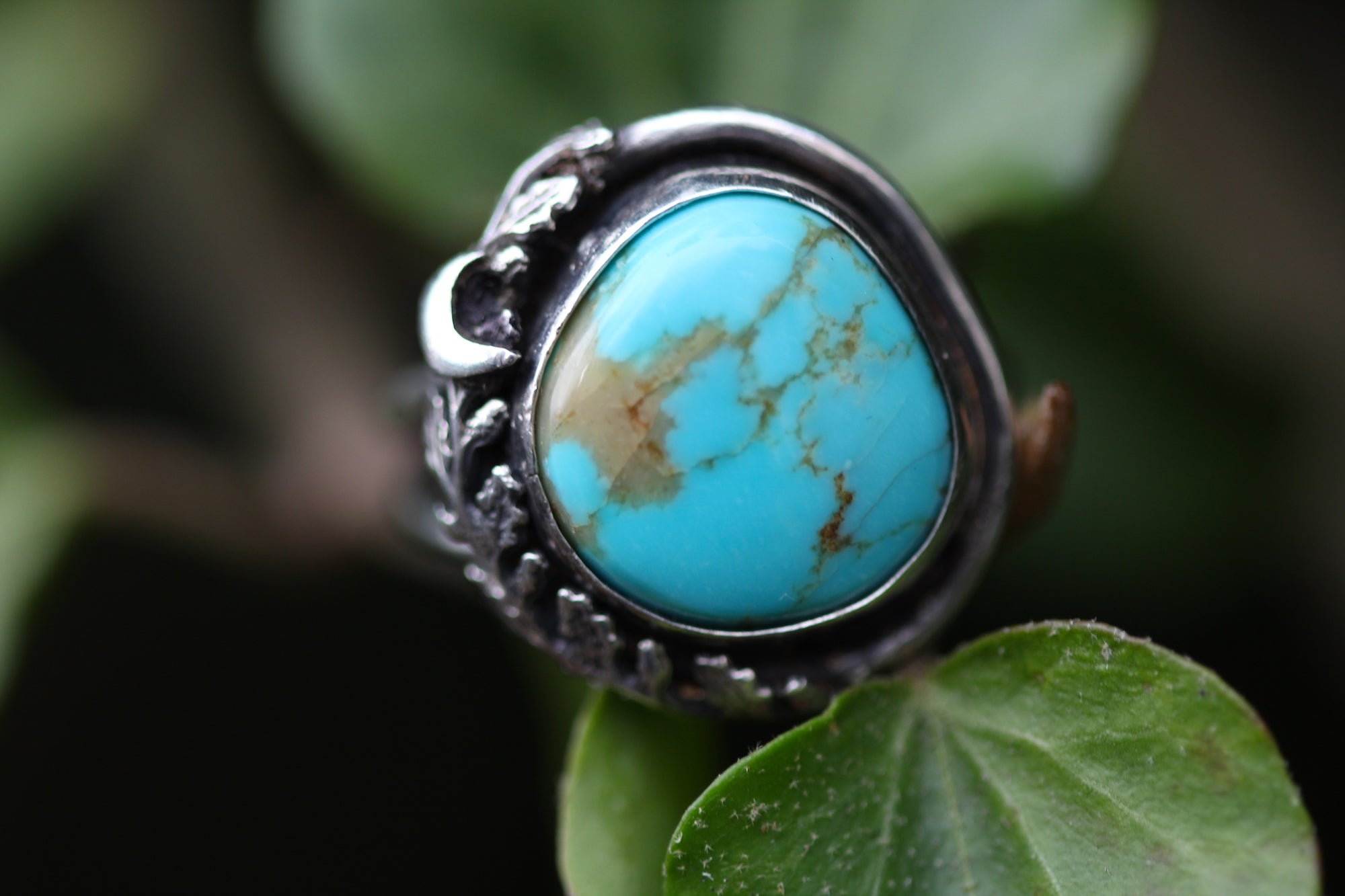 BLUE MOON Sterling Silver & Kingman Turquoise Ring, Size N/6.5