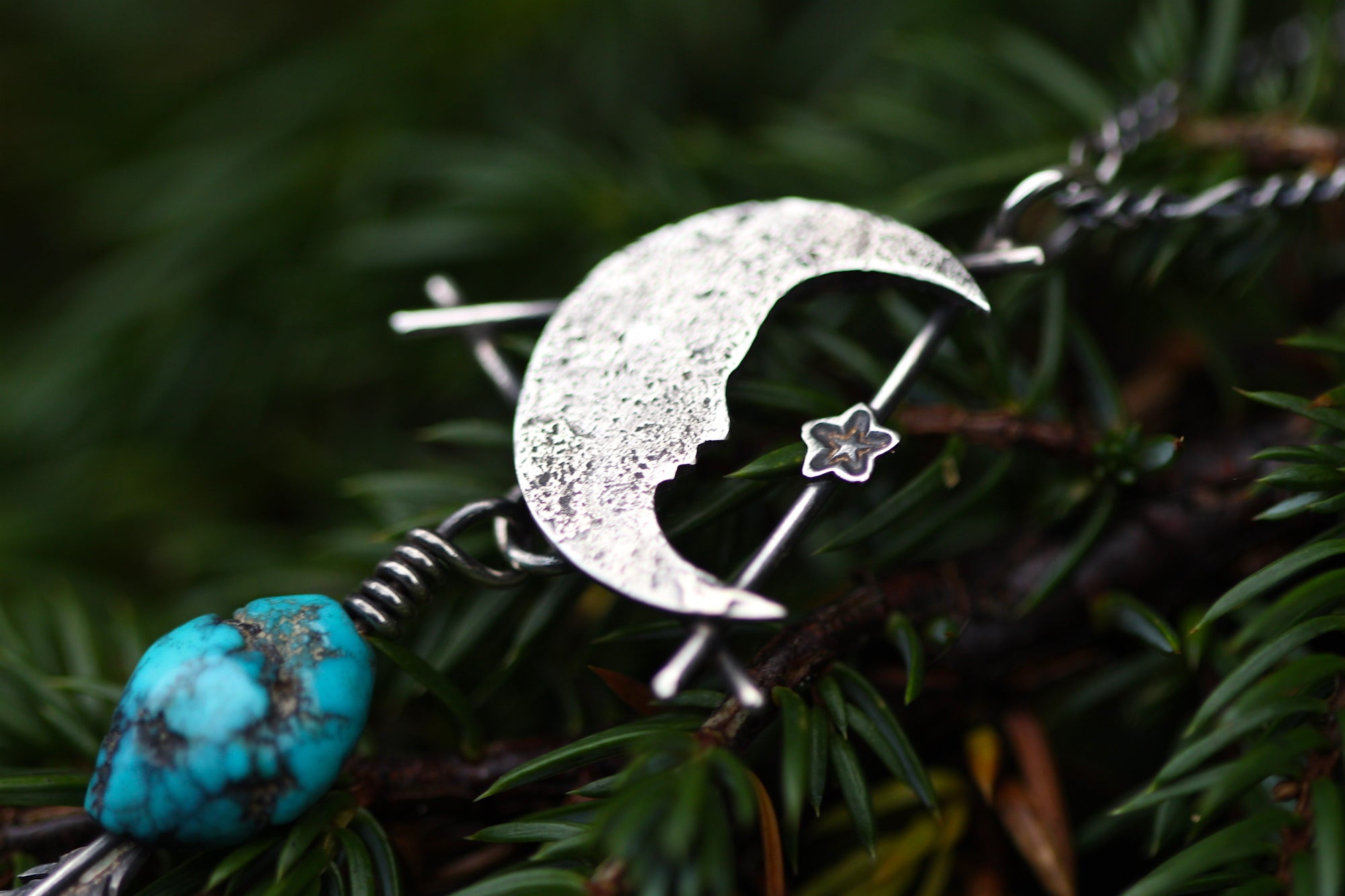 MOONFIRE Sterling Silver Necklace with Natural American Turquoise