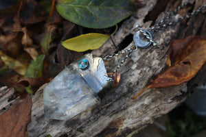 MOUNTAIN GOLD Pyrite included Quartz & Sleeping Beauty Turquoise Necklace