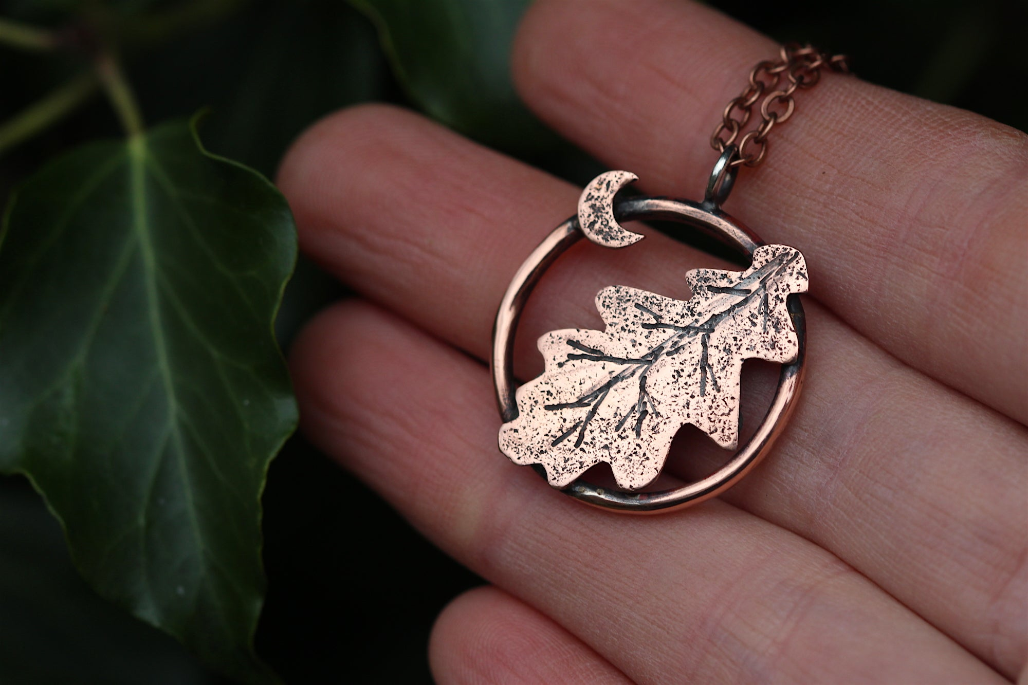 DRYAD Handmade Copper Oak Leaf Necklace