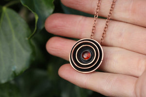 RESONANCE Handmade Copper & Sterling Silver Necklace with Amber