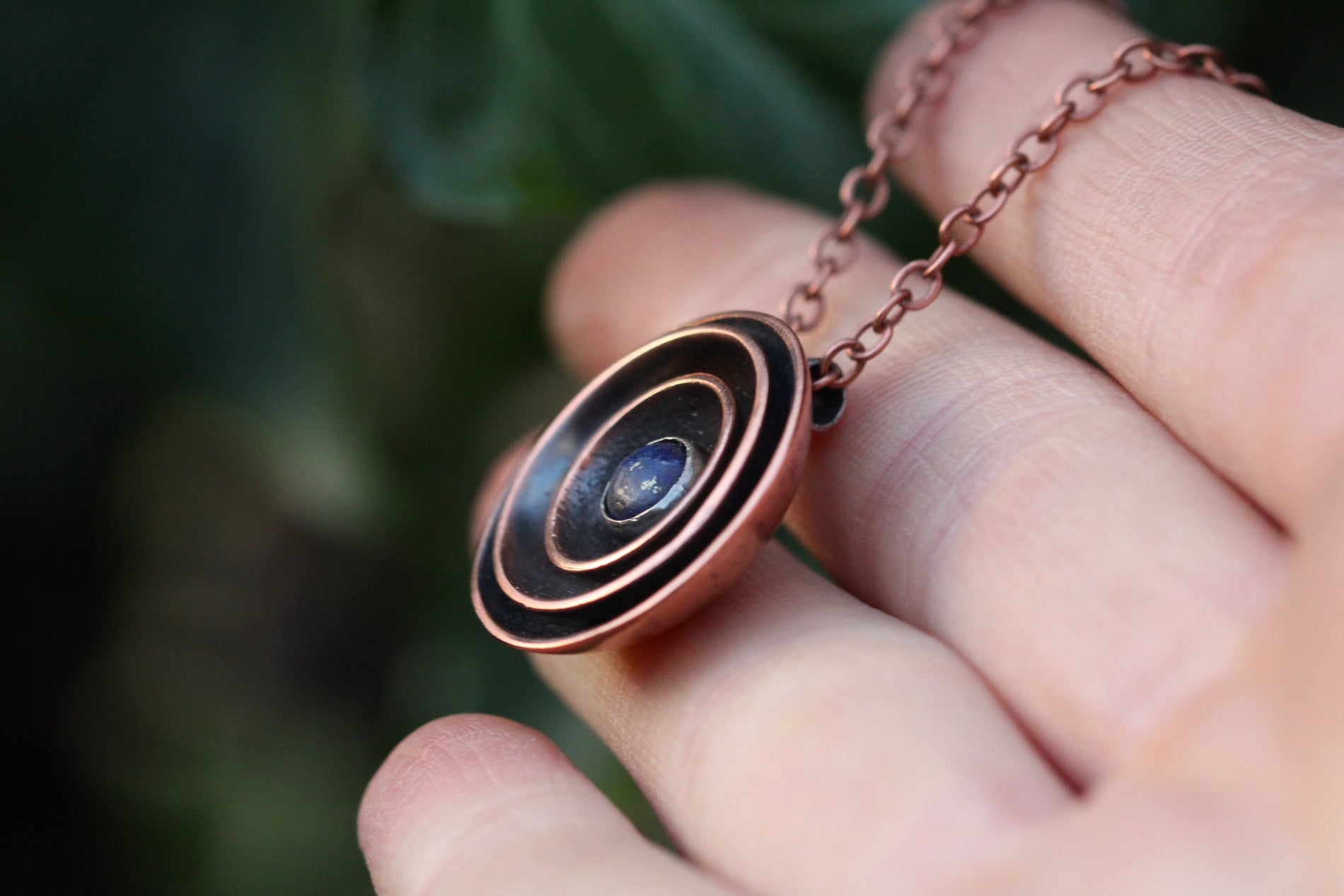 RESONANCE Handmade Copper & Sterling Silver Necklace with Lapis Lazuli