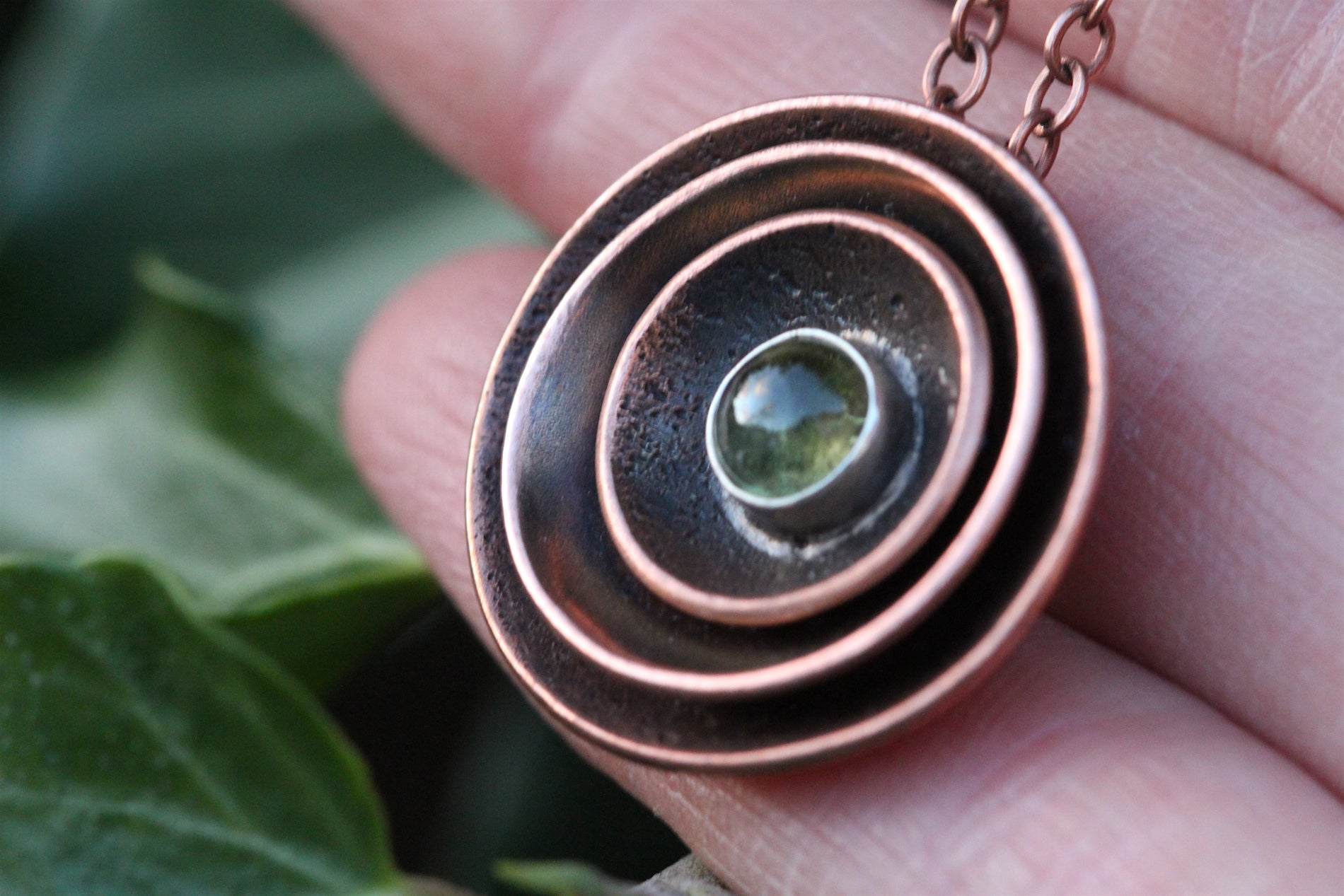 RESONANCE Handmade Copper & Sterling Silver Necklace with Peridot