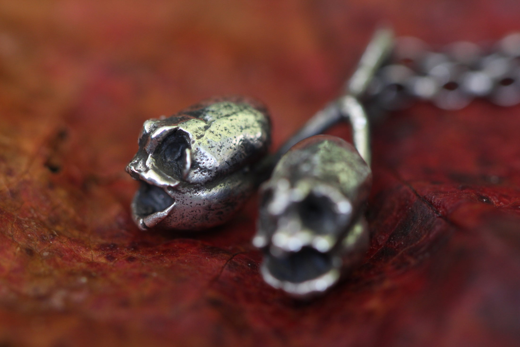 PIXIE SKULLS Snapdragon Seed Pod Sterling Silver Necklace *last one available*