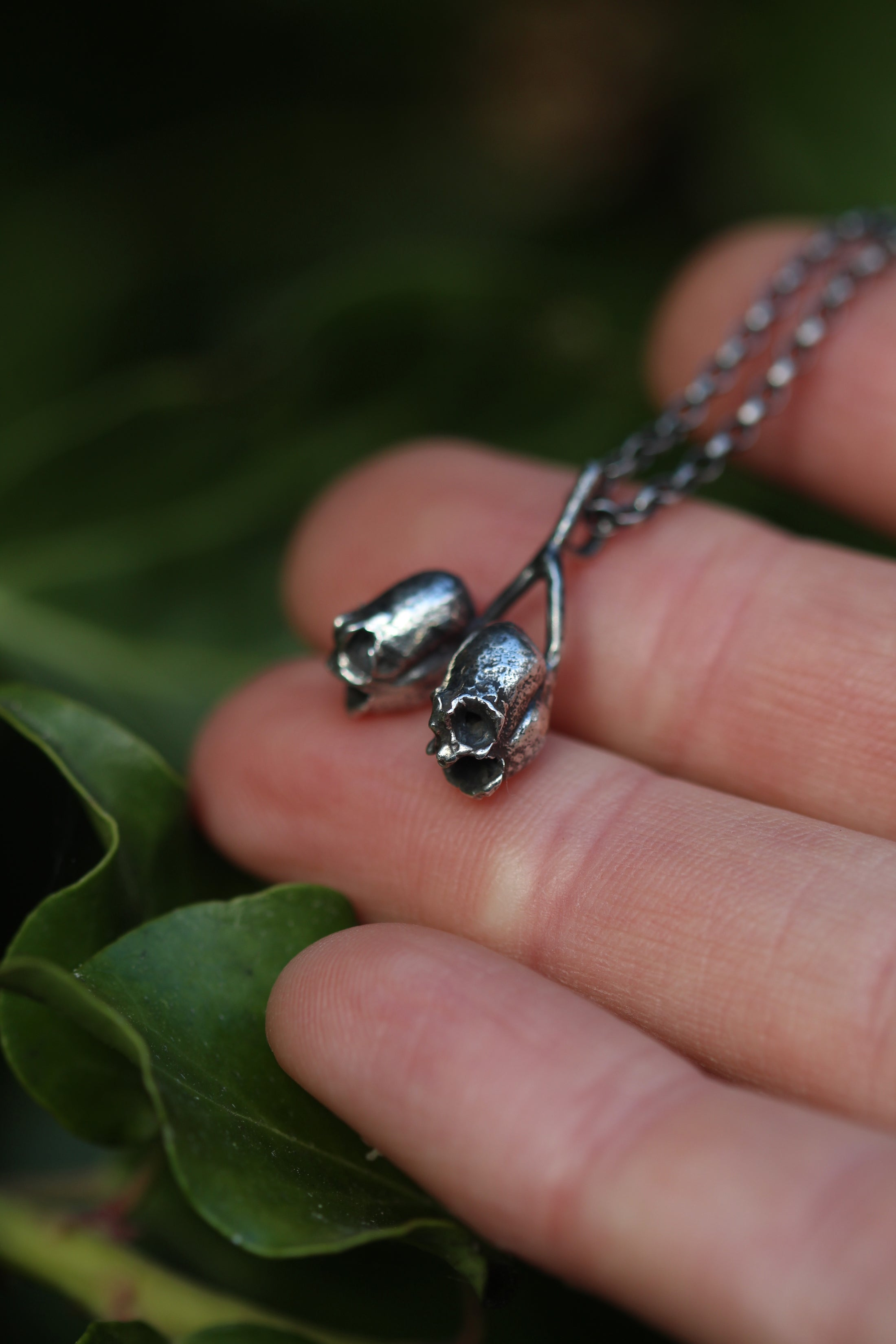 PIXIE SKULLS Snapdragon Seed Pod Sterling Silver Necklace *last one