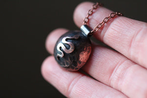 DARK MOON Handmade Copper & Sterling Silver Necklace