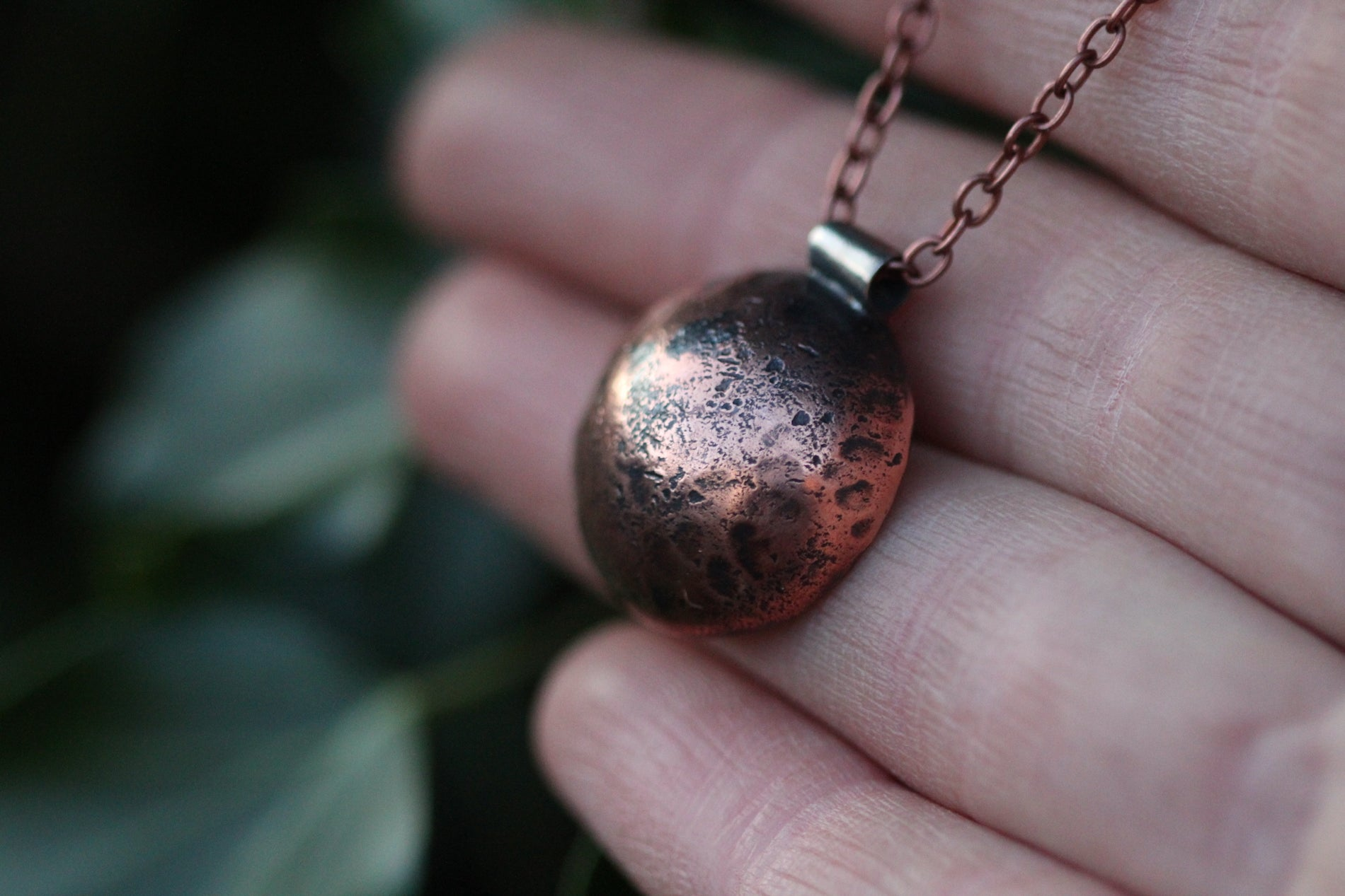 FULL MOON Handmade Copper & Sterling Silver Necklace