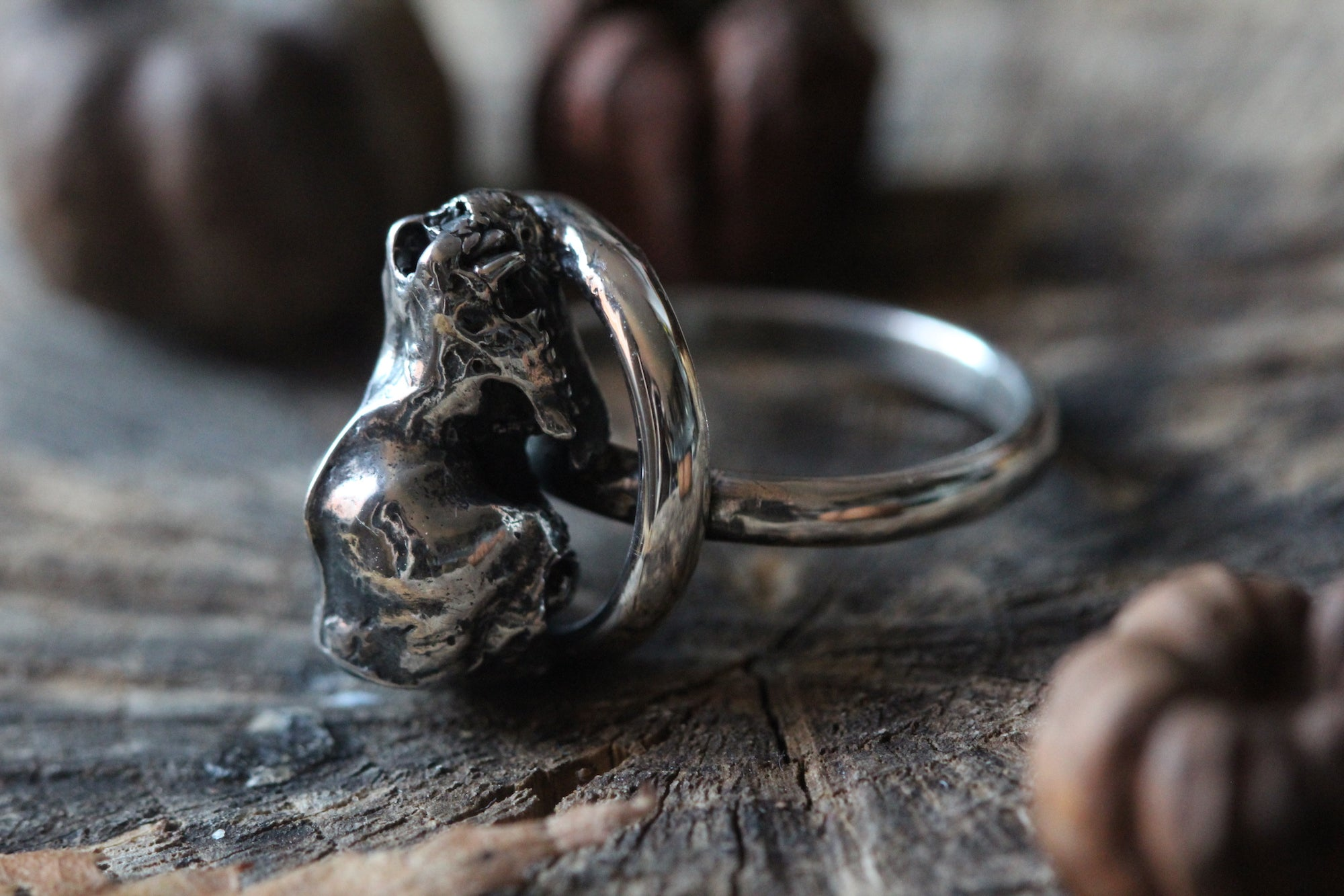 LETTING GO Sterling Silver Bat Skull Ring - Size L/5.5