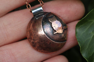 LUNAR FAMILIAR ~ OWL I ~ Handmade Copper & Sterling Silver Necklace