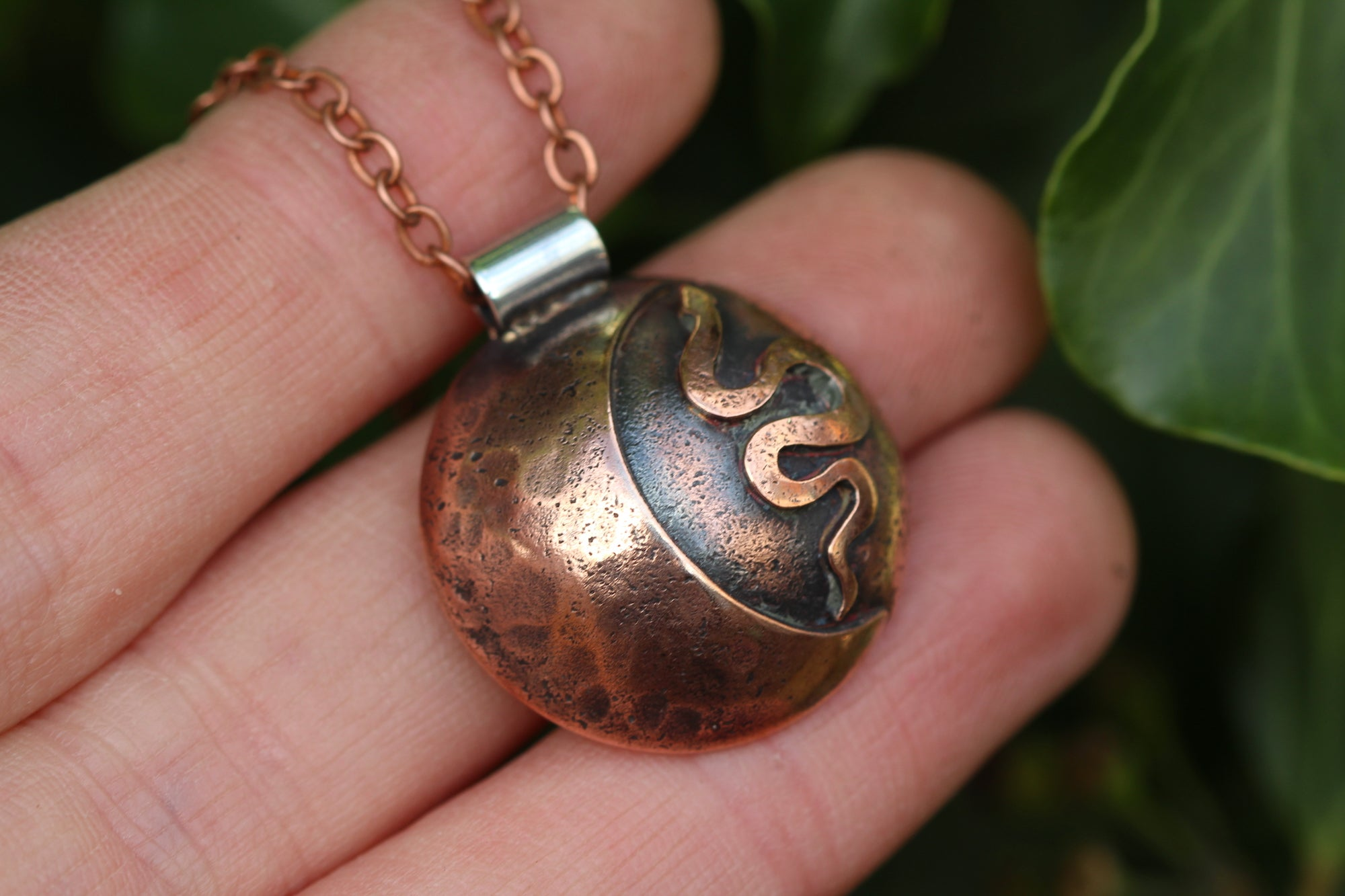 LUNAR FAMILIAR ~ SERPENT I ~ Handmade Copper & Sterling Silver Necklace