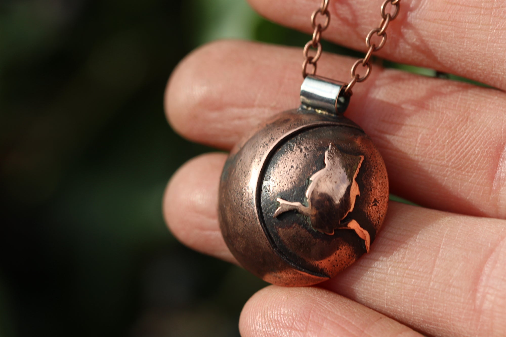 LUNAR FAMILIAR ~ OWL II ~ Handmade Copper & Sterling Silver Necklace