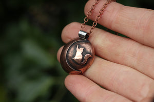 LUNAR FAMILIAR ~ CAT II ~ Handmade Copper & Sterling Silver Necklace