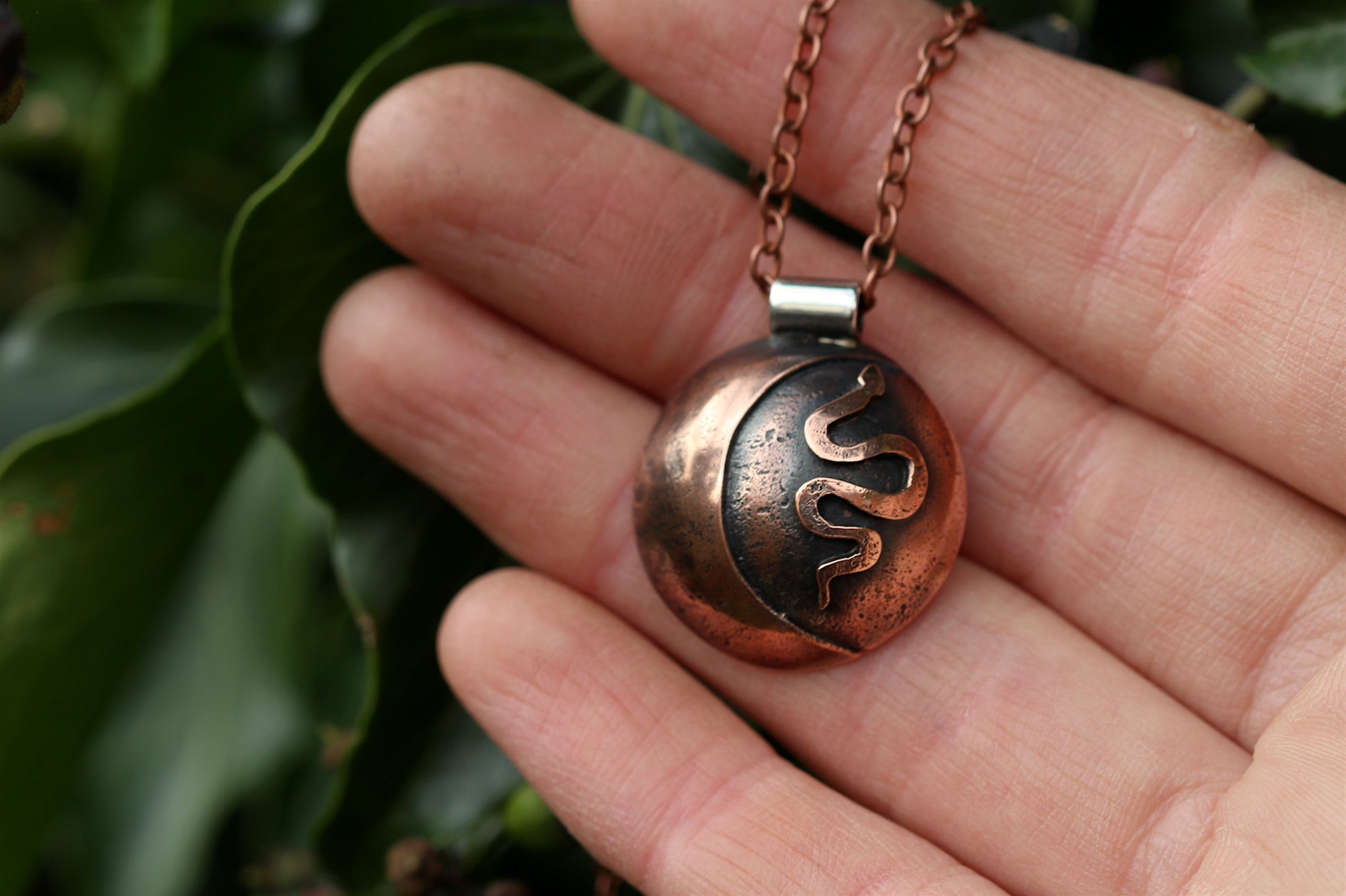 LUNAR FAMILIAR ~ SERPENT II ~ Handmade Copper & Sterling Silver Necklace