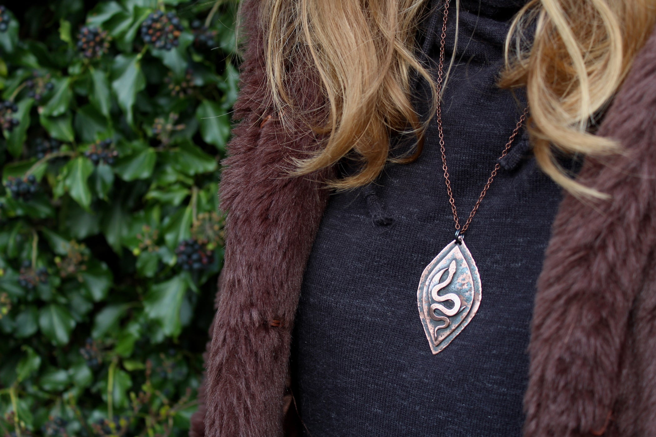 SERPENT YONI Handmade Copper Necklace