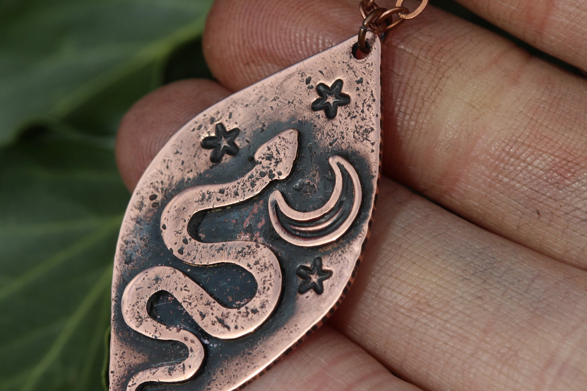 LUNAR SERPENT Handmade Copper Necklace