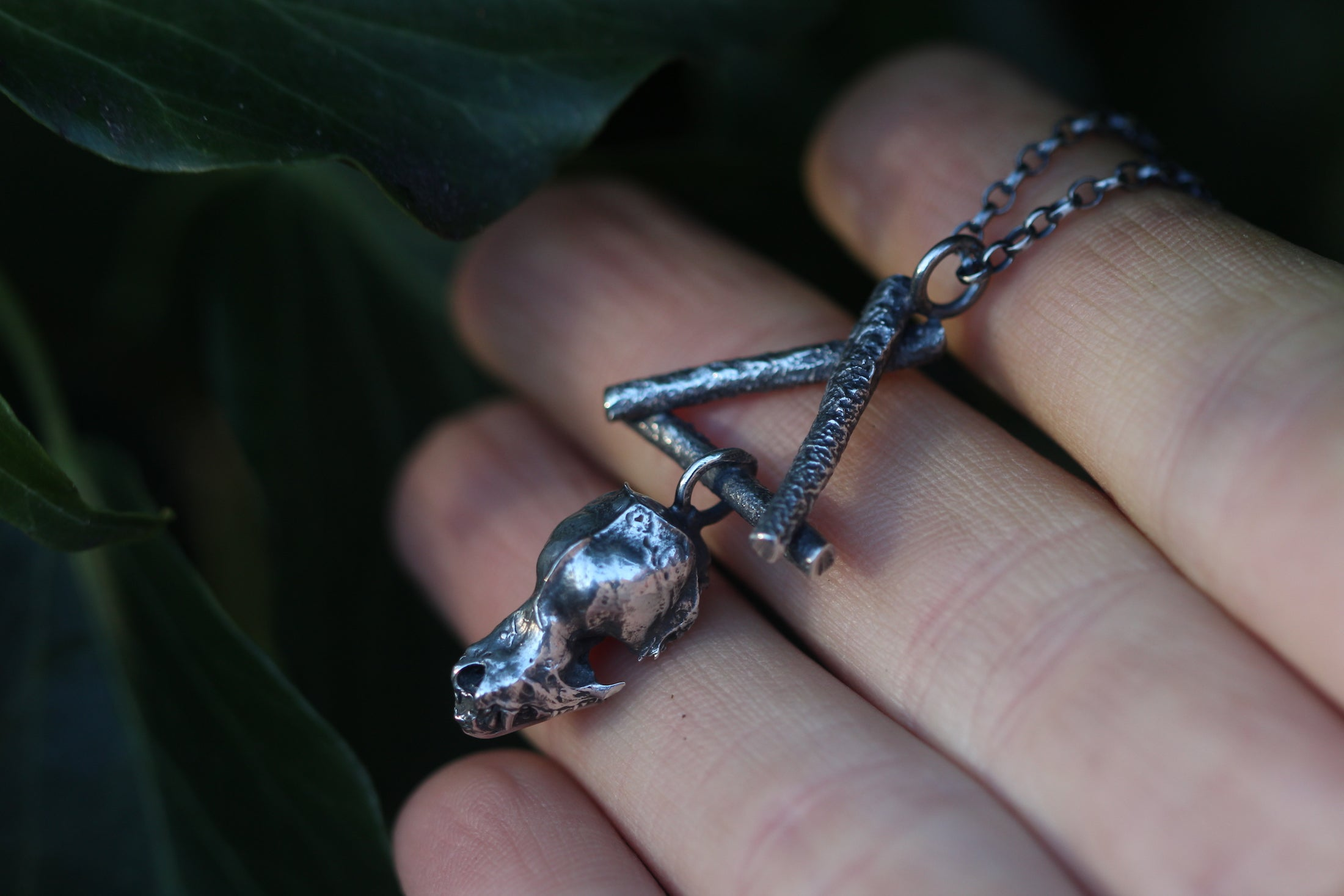 TRANSFORMATIVE FIRE Sterling Silver Bat Skull Necklace