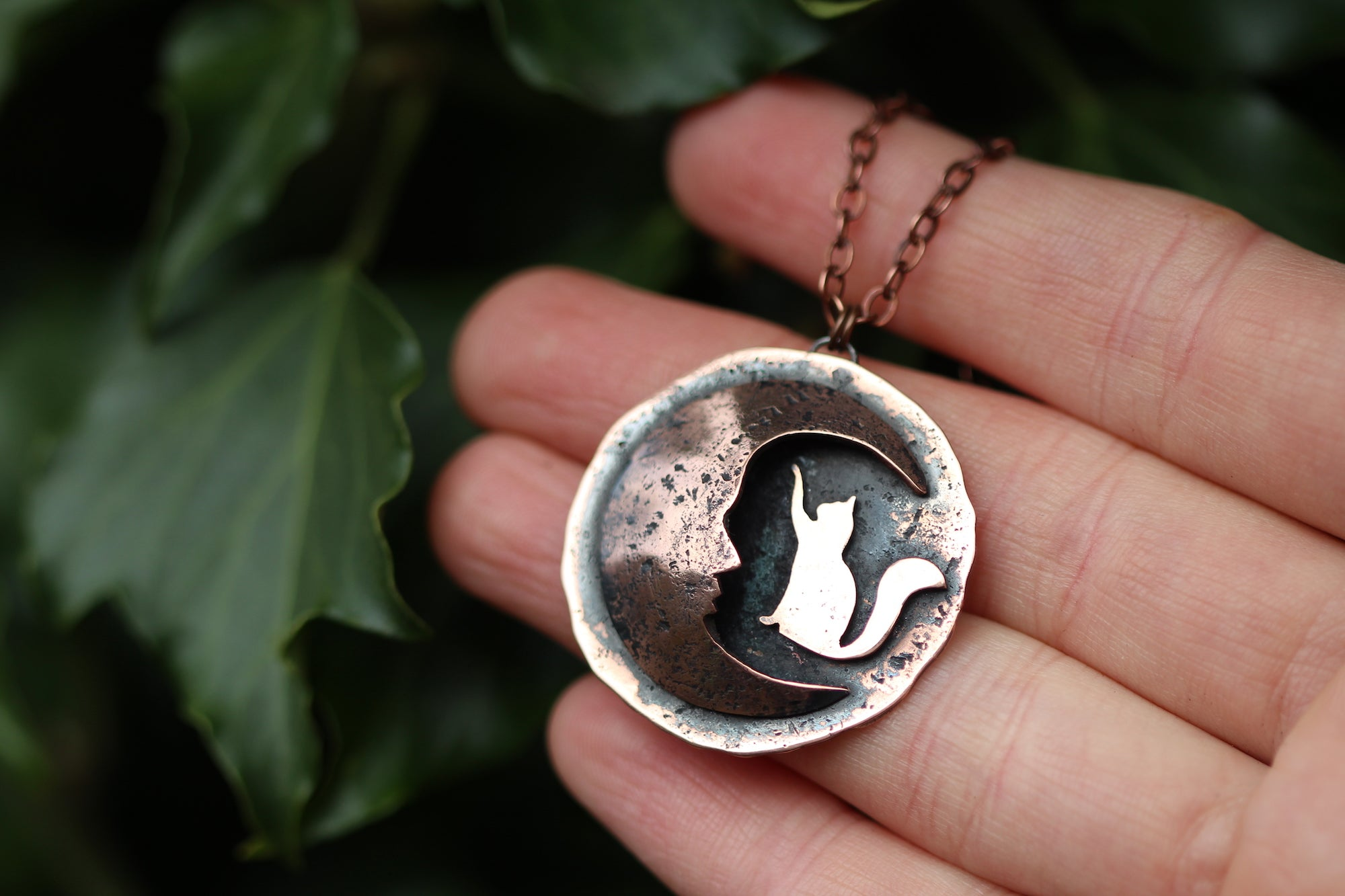 PRIMAL KNOWING Handmade Copper Necklace with Cat