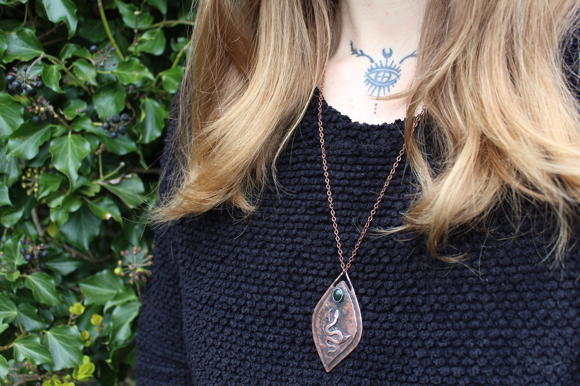 SERPENT YONI Handmade Copper Necklace with Bloodstone