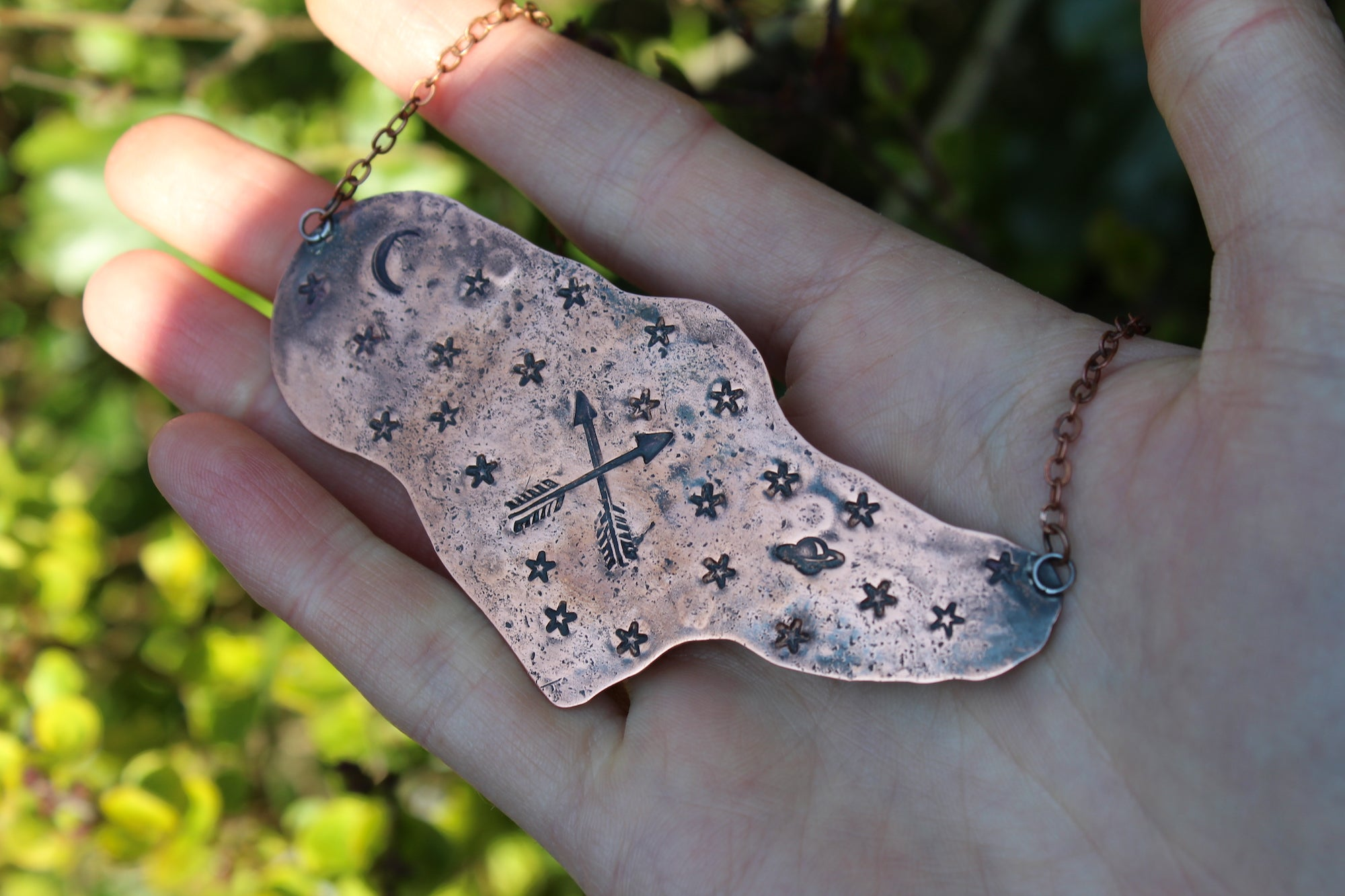 DRAWING DOWN THE MOON Handmade Copper Witch Necklace